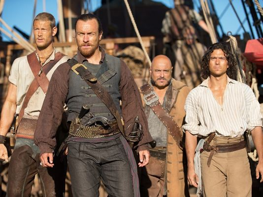 Flint's Crew. Left to right: Billy Bones, Flint, Gates and John Silver