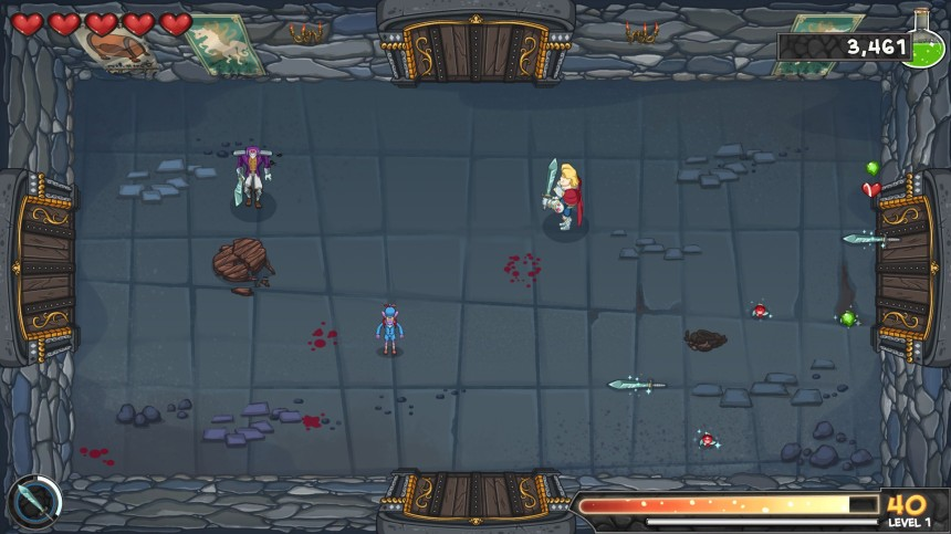 The environments might change a bit, but the layout is always the same: 4 doors and tons of enemies!